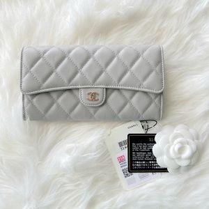 Chanel   21A Classic Long Flap Grey Wallet - BN